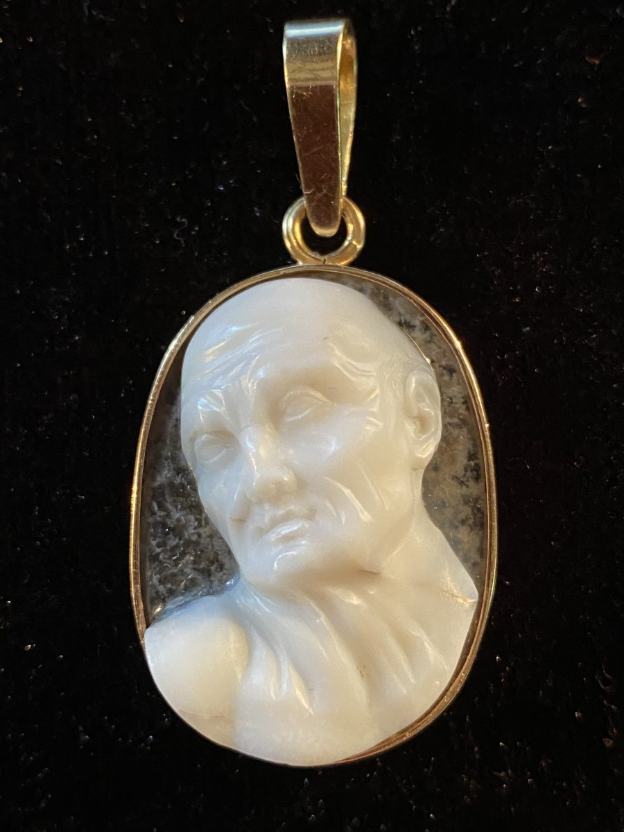 High Relief Cameo, Expressive Male Profile, Two Layered Crystal Agate