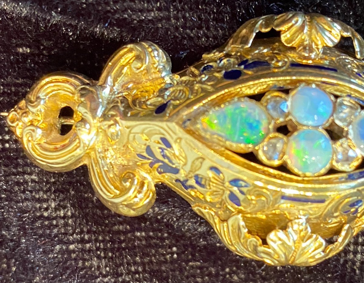 Napoleon III Gold Brooch, Opals And Diamonds-photo-2