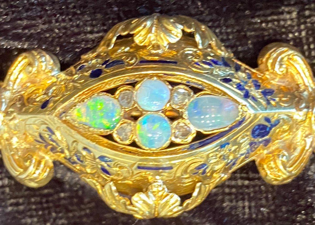 Napoleon III Gold Brooch, Opals And Diamonds-photo-3