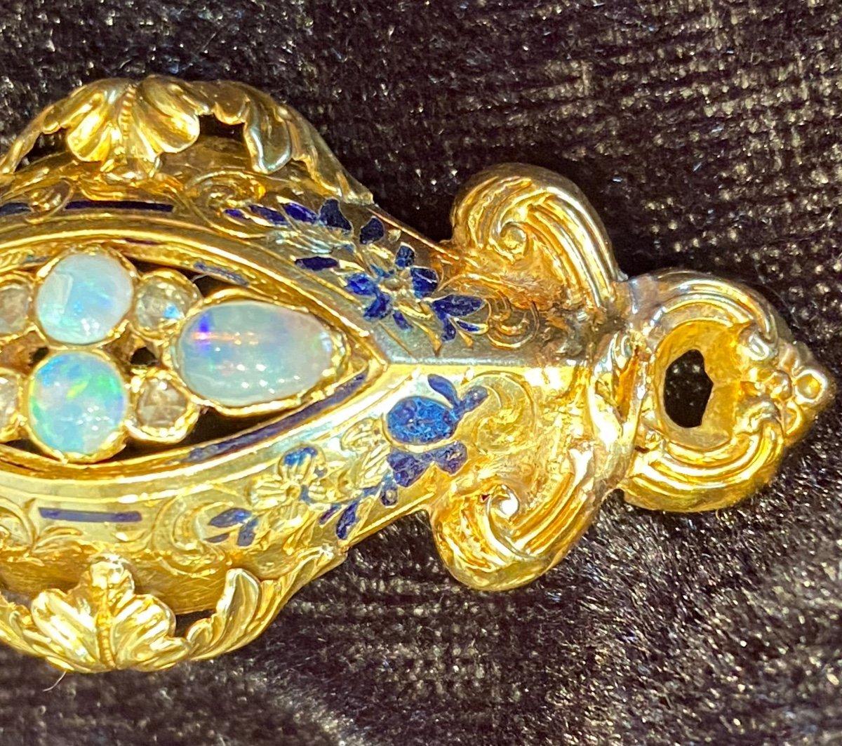 Napoleon III Gold Brooch, Opals And Diamonds-photo-4