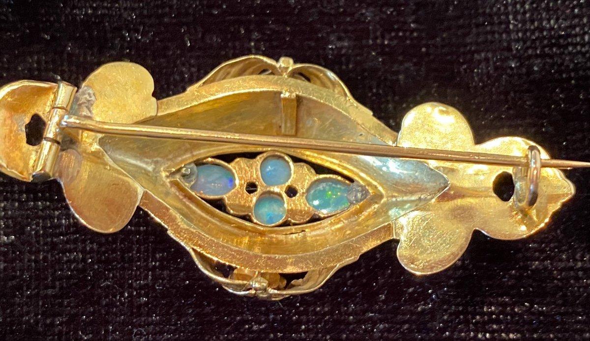 Napoleon III Gold Brooch, Opals And Diamonds-photo-1