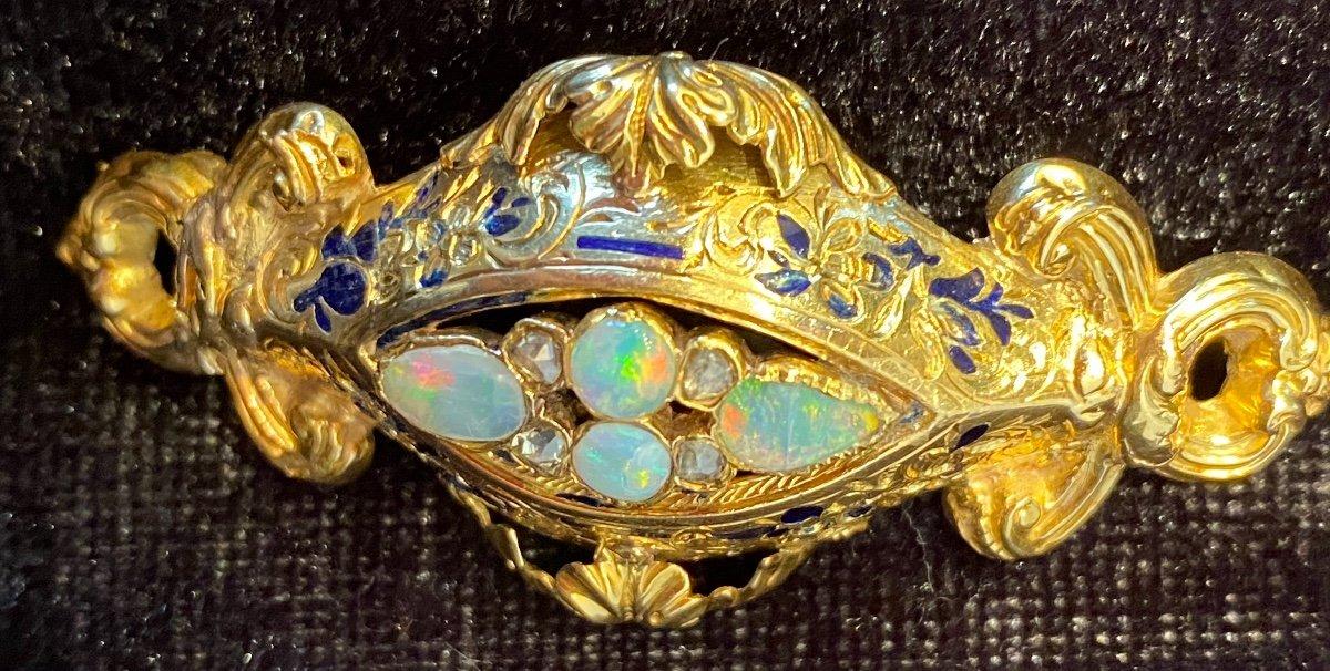Napoleon III Gold Brooch, Opals And Diamonds-photo-5