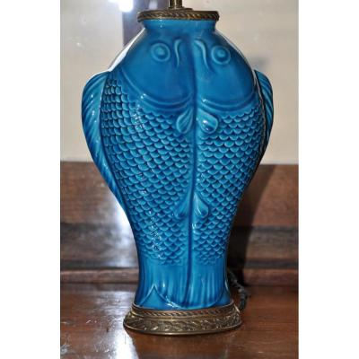 Lampe Aux Carpes De Style Oriental Signée Delvaux Rue Royale à Paris 1880