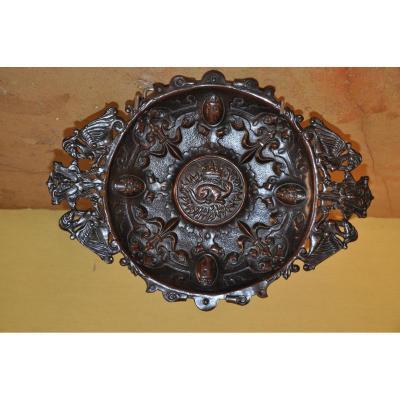 Grand Plat En Bronze à La Salamandre - François 1er