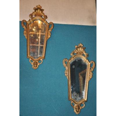 Paire De Petits Miroirs De Style Rocaille italien