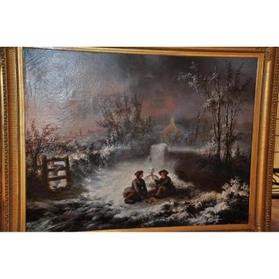Grande Huile Sur Toile Du XIXème Siècle, signé Eutrope Bourgeron