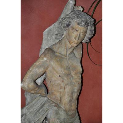 Grand Saint Sébastien En Stuc Et Terre Cuite Renaissance Italienne