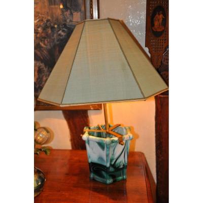Cache Pot En Verre Marbré Aménagé En Lampe, XIXème Siècle