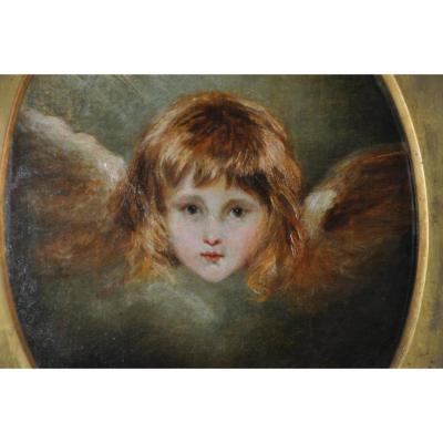 Tête d'Ange, Huile Sur Toile XIX ème Siècle, Suiveur De Joshua Reynolds