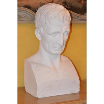 Grand Buste En Marbre Du XIX ème : Jules César