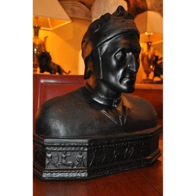 Grand Buste De Dante En Plâtre à Patine Noire