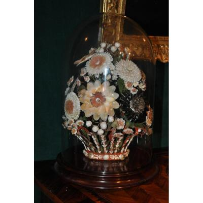 Beautiful Bouquet Of Flowers In Seashells Nineteenth Century Under Globe