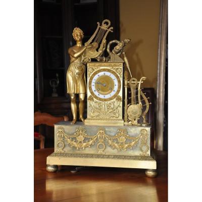 Large Gilded Bronze Pendulum: Orphée, Restoration Period