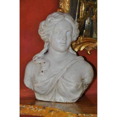 Woman Bust In Marble Louis XIV Period, Formant Term Or Cariatide