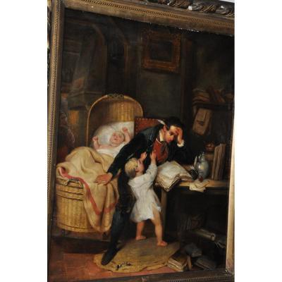 """""""un papa débordé"""",  huile sur toile du XIXème siècle, signée A.Hernandez"""
