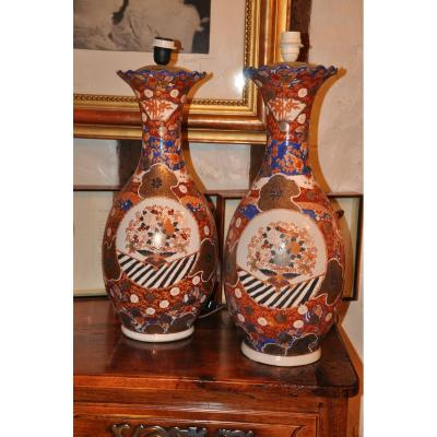Great Pair Of Imari Vases, Late Nineteenth Century Mounted In Lamps