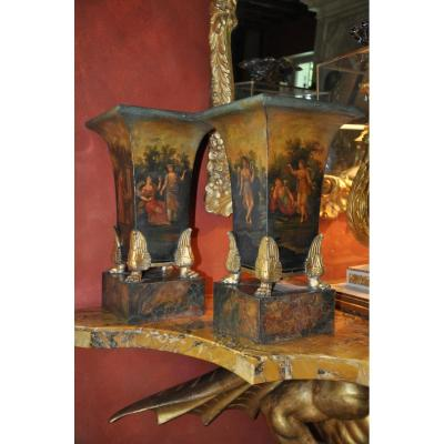 Important Pair Of Vases Cornets In Painted Sheet Of Empire Period, Mythological Scene Decor
