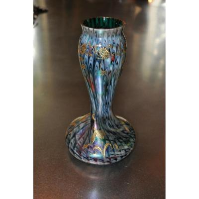 Twisted Vase Iridescent Art Nouveau By Rindskopf Glass Early 20th Century
