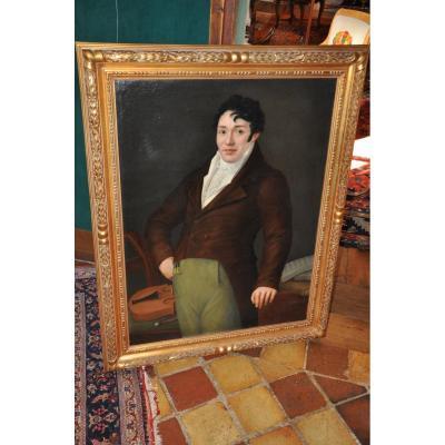 Grand Portrait d'Un Violoniste d'époque Romantique, XIXe Siècle