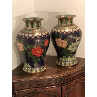 Grande Paire De Vases Cloisonnés Aux Pivoines