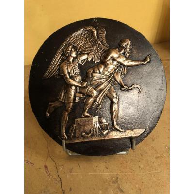 Plaque En Bronze Du XIX Eme Siècle : Allégorie Du Temps Qui Passe Ou Dédale Et Icare