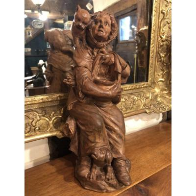 Terracotta From Beginning Of XIX Eme Century: Old Woman With Dog And Cat