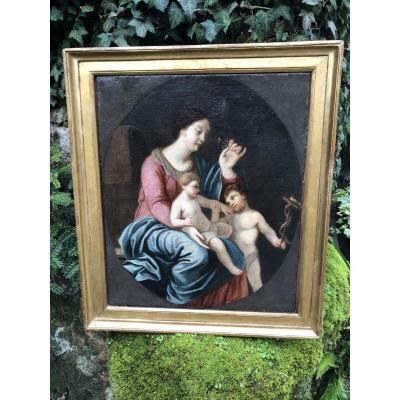 Huile Sur Toile Fin Du XVIIe Siècle : Marie, L'enfant Jésus Et Saint Jean-baptiste