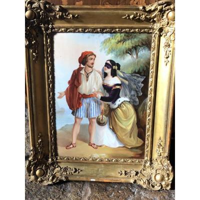 Grande Peinture Sur Porcelaine Du XIXe Siècle : Marin Et Courtisane