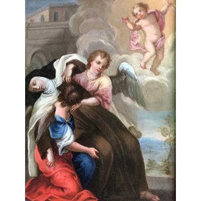 L'extase De Sainte Thérèse, Superbe Huile Sur Cuivre Du XVII Eme Siècle