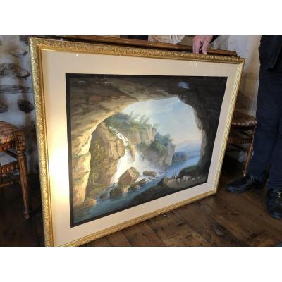 La Grotte De Neptune à Tivoli, Grande Gouache Romantique Du XIXe Siècle