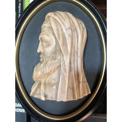 Profil D'un Philosophe Ou D'un Prêtre Antique, En Marbre Jaune De Sienne, XIXe Siècle