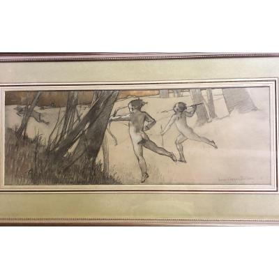 Large Symbolist Drawing By Louis Robert Carrier-belleuse