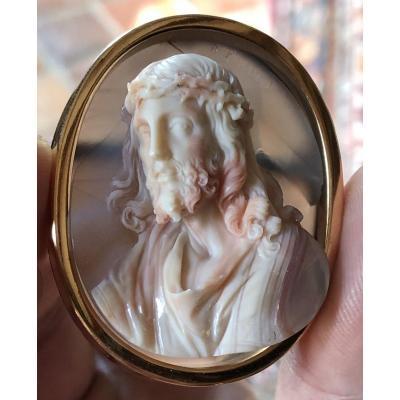 Antonio Berini, Camée En Agate XIXe, Profil Du Christ