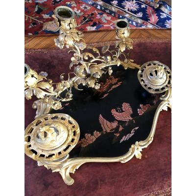 Louis XV Style Inkwell Napoleon III In Japanese Lacquer