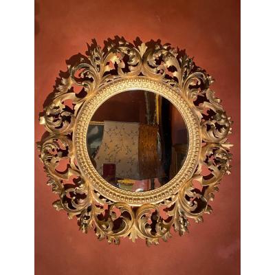 Miroir Italien : Dentelle De Bois Sculpté, XIX Eme Siècle