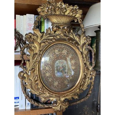 Louis XVI Oval Reliquary In Golden Wood