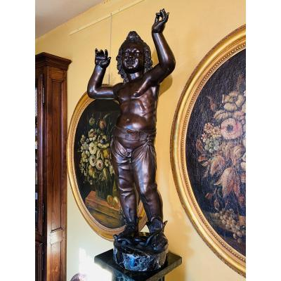 Attis Ou Atys, Imposant Bronze Du XIX Eme Siècle D'après Donatello