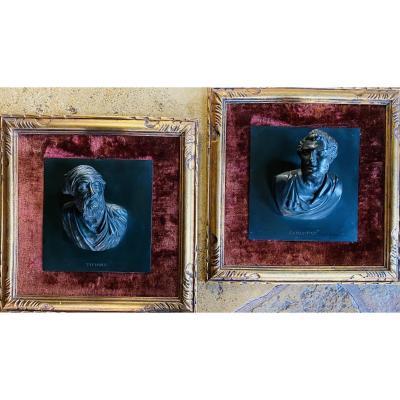 Le Titien Et Sansovino : Les Portes Du Paradis, Paire De Bronzes En Très Haut Relief, Encadrés