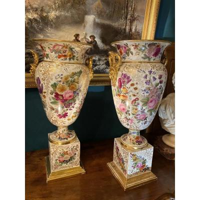 Spectacular Pair Of Vases Signed Jacob Petit