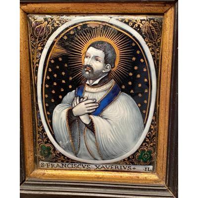 Saint François Xavier, Limousin Enamels From XVII Eme Century Signed Jacques Landin Il