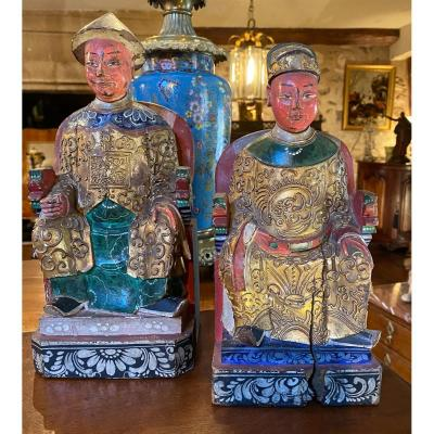 Couple Of Chinese Dignitaries In Polychrome Wood Early XX Eme Century