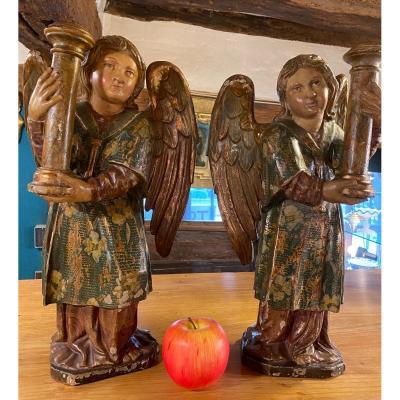 Paire D'anges Aux Colonnes De La Passion, XVIII Eme Siècle