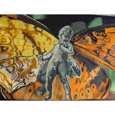 L'enfant Papillon, Tapisserie Contemporaine En Laine, XX Eme Siècle