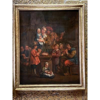 Famille Nombreuse Dans Un Intérieur, Huile Sur Toile Du XVIII Dans Le Goût E De Teniers