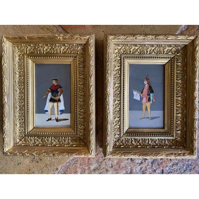 Paire De Tableaux En Marqueterie De Marbre, Style Troubadour, Florence, Fin Du XIX Eme Siècle
