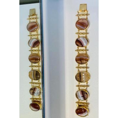 Bracelet Manchette Aux Cabochons D'agate Rubanée