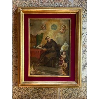Saint Ignace De Loyola Dans Son Cabinet De Travail, Huile Sur Toile Du XVIII Eme Siècle