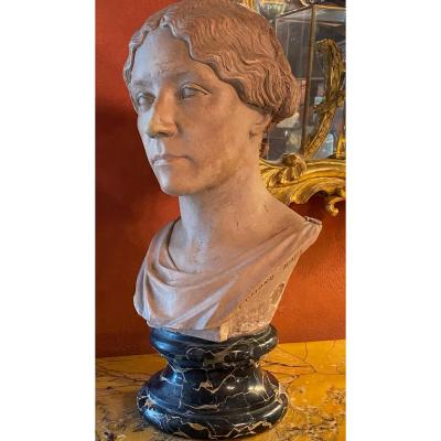 Bust Of Woman In Terracotta Signed Edmond Noël And Dated January 1850