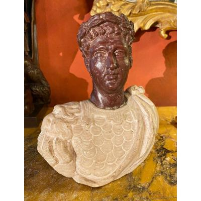Marble Bust Of A Roman Emperor From XIX Eme Century