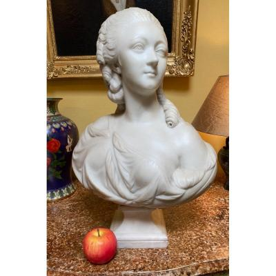 The Countess Du Barry, Large Marble Bust From The Beginning Of The XIX Eme Century